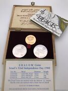 1980 Andldquoisraelandrdquo Gold And Silver Independence Day Commemorative Boxed Coin Set