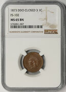 1873 Ddo Closed 3 Fs-102 Indian Head Penny 1c Ms 65 Bn Brown Ngc Population 2/0