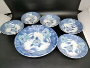 Asian Berry Bowl Set Blue Flowers On White Excellent Condition 1 Large And 5 Small