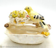 Vintage Norleans Taiwan Ashtray W Yellow Birds Mama And Babies Nest Figurine Vgc
