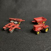 Vintage Tootsietoy Diecast Farm Tractor Utility Cart Tiller And Plow