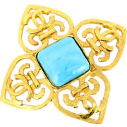 Brooch Vintage Color Stone Coco Mark Gp Gold Blue Women And039s Pin No.4225