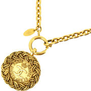 Necklace Vintage Coco Mark Medal Chain Metal Gold Gp Women And039s No.4738