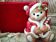 Fitz And Floyd Peppermint Teddy Christmas Cookie Jar New In Box So Cute