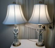 Gorgeous Pair Of Old Chinese Man And Woman Figures White Porcelain Lamps W/ Shade