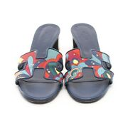 Hermes Oazis Sandal Canvas Razor Navy Multi Colored Previously Owned No.6456