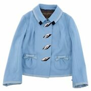 Louis Vuitton Jacket Feather Button Ribbon Trimming Women And039s Wool Outer No.6651