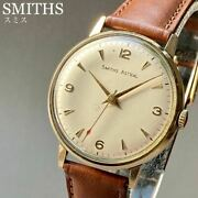 Smith Astral 9 Solid Gold Antique Watch 1967 Manual Winding Menand039s Vintage