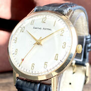 Smiths 9k Solid Gold Astral 60and039s Antique Manual Winding British Menand039s Watch