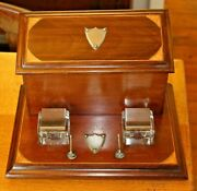 Antique Victorian Desk Top Twin Glass Inkwell Stand Wood Stationary Box Standish