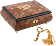 Floral Italian Hand Crafted Inlaid Wood Jewelry Music Box Plays Somewhere In