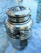 Antique Sterling Silver And Co Makers Inkwell Ink Pot Cherubs Birds