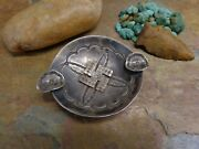 1930's Navajo Sterling Whirling Log Ash Tray Dish Plate Native Old Pawn Era