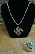 Huge Navajo Sterling Whirling Log Heishi Turquoise Necklace Pendant Old Pawn Era