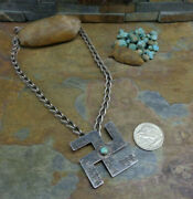 Huge Early Navajo Sterling Whirling Log Turquoise Necklace Pendant Old Pawn Era