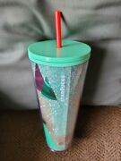Starbucks Exclusive Glitter Christmas Tree Green 24 Oz Cold Cup Tumbler New 2020