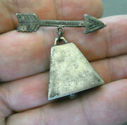Southwestern Sterling Silver 3-d Cow Bell With Stamped Arrow Brooch / Pin Jah