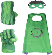 Hulk Hands Fists Costume With Green Cape And Eye-mask – Complete Set Of Hulk Acc