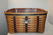 Longaberger Small Wash Day Basket, Fabric, Protector, Proudly American, Tie-on