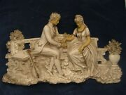 Antiques Vintage Chalkware Plaster Woman And Man Scene Huge Wall Plaque