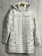 Columbia Womens Sz M Mid Length White Quilted Puffer Jacket Removable Hood
