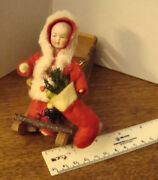 Antique German Cotton Bisque Heubach Santa In Sled Candy Container Ornament