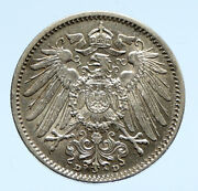 1915 D Germany Wilhelm Ii Eagle Antique German Empire Silver 1 Mark Coin I96485