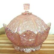 Fenton Pink Iridescent Daisy Button Carnival Glass Footed Bowl + Domed Lid, Usa