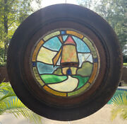 """Antique Round Stain Glass Window Windmill Scene With Wood Frame 18 1/8"""""""