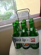 Vintage Sever-up Pop Carrier And Six Bottles From Michigan And North Dakota