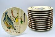 Williams Sonoma 12 Days Of Christmas 12 New Plates With Original Packing 8 3/4