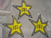 3 Large 12 Authentic Rockstar Energy Drink Sticker Decal Sign Logo Moto Racing