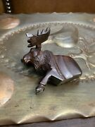Vintage Hand Carved Ironwood Moose Small Sculpture Iron Wood
