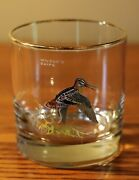 Vintage 1970's Ned Smith Double Old Fashioned Whiskey Glass- 3-1/2- Game Birds