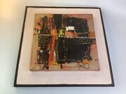 """Edith Ferullo Mcm Abstract 13"""" X13"""" Signed Original Oil Wood Painting"""