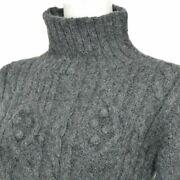 Hermes High Neck Sweater Cable Knit Alpaca Long Sleeve 36 Gray No.7598