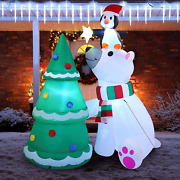 Christmas Inflatable Polar Bear Built In Leds Blow Up Indoor Outdoor Decoration