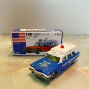Tomica Foreign Car Series No.f60 Cadillac Ambulance Blue Box Made In Japan