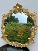 Antique Picture Frame Mirror Wood Carved Stucco Gold Plated Baroque Rococo