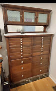 Antique Ca. Late 1910s Wooden Dental Cabinet W Frosted Glass Doors And Marble Base
