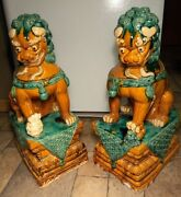 Large 25 Tall Antique/vintage Chinese Guardian Foo Dog Lion Statue Pair