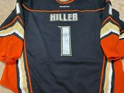 Jonas Hiller 13and03914 Signed Black Anaheim Ducks Photomatched Game Worn Used Jersey