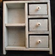 Vintage Primitive Painted 2 Shelves And 3 Drawers 14 1/2 By 13 By 3 1/2 Inches