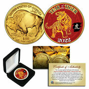 2022 Chinese Year Of Tiger 24k Gold Clad 50 American Buffalo Tribute Coin Box