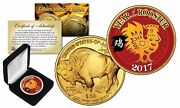 2017 Chinese Year Of The Rooster 24k Gold Clad 50 American Buffalo Tribute Coin