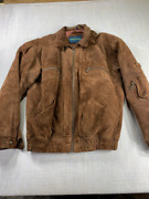 Weekends Mens Jacket Coat Brown Full Zip Up Pockets Lined Leather Tall Lt 42-44