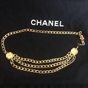 Chain Belt Gold Cc Mark Vintage Accessories Goods From Japanese K11210