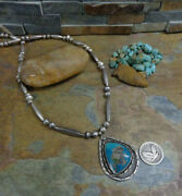 Navajo Royston Boulder Turquoise Whirling Log Sterling Squash Blossom Necklace
