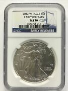 2012 W Burnished American Silver Eagle Ngc Ms70 Early Releases