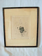 Marguerite Kirmse 'afield' Antique Etching Artists Proof In Original Frame 10x12